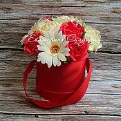 """Букеты ручной работы. Ярмарка Мастеров - ручная работа Букет из конфет в шляпной коробке """"Красный бархат"""". Handmade."""