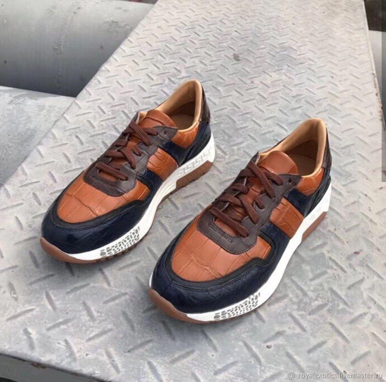 Кроссовки  из кожи крокодила,три цвета, синий, коричневый, оранжевый, Кроссовки, Тосно,  Фото №1