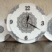"""Посуда ручной работы. Ярмарка Мастеров - ручная работа Набор настенных тарелок с часами """"20 минут первого"""".. Handmade."""