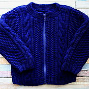 Одежда handmade. Livemaster - original item Knitted blue Classic cardigan for boys. Handmade.