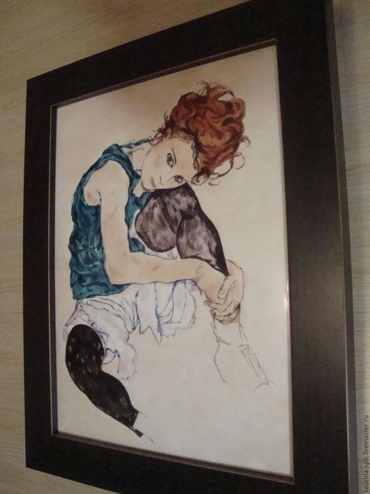 Персональные подарки ручной работы. Ярмарка Мастеров - ручная работа. Купить Seated Woman with Bent Knee - Schiele Egon. Handmade.