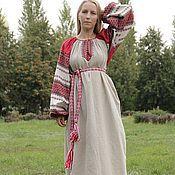 """Одежда ручной работы. Ярмарка Мастеров - ручная работа Платье """"Этно"""" небеленый лен. Handmade."""