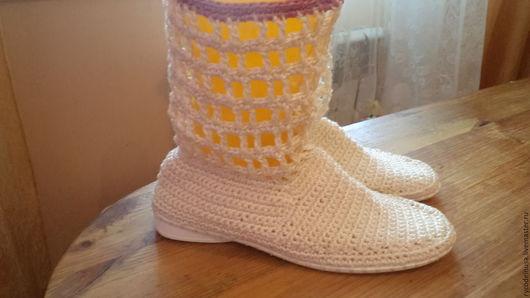 Обувь ручной работы. Ярмарка Мастеров - ручная работа. Купить лллетнии сапожки. Handmade. Белый, сапоги ручной работы, вязание