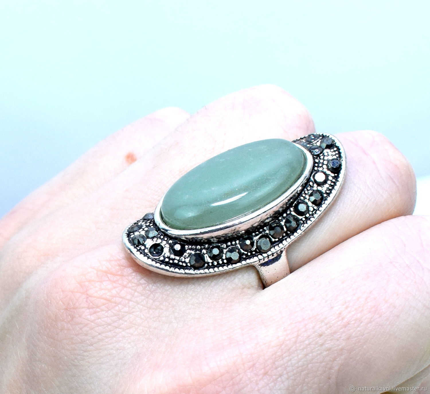 Ring natural green aventurine, Rings, Moscow,  Фото №1