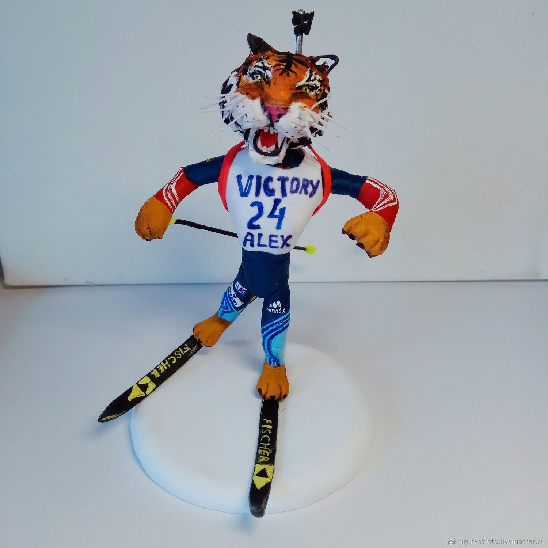 фигурка тигра - биатлониста, подарок биатлонисту, спорт, Подарки, Москва, Фото №1