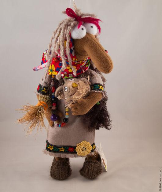 Сувениры ручной работы. Ярмарка Мастеров - ручная работа. Купить Баба Яга  с совой.( бронь). Handmade. Коричневый, защитница