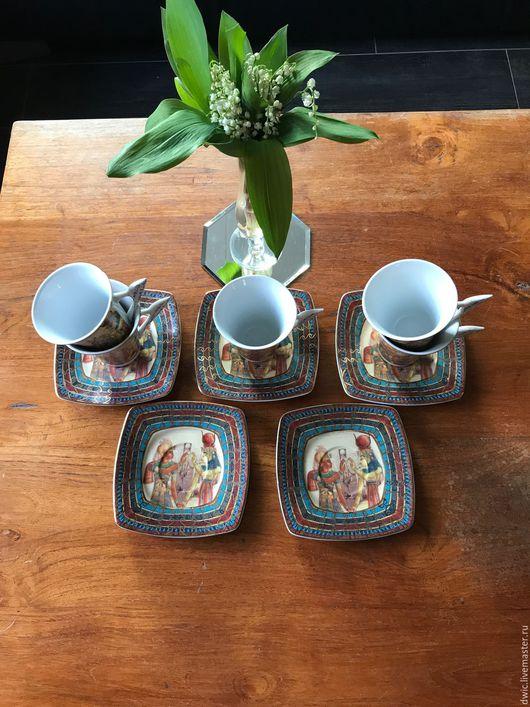 """Винтажная посуда. Ярмарка Мастеров - ручная работа. Купить Чайные пары 5 пар, """"Fathi Mahmoud Limoges""""(Египет). Handmade. подарок"""