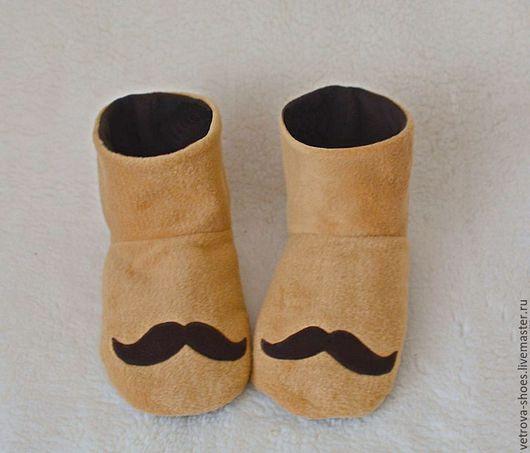 """Обувь ручной работы. Ярмарка Мастеров - ручная работа. Купить Мужские угги """"Mustache cappuccino """". Handmade. Бежевый, шоколад"""