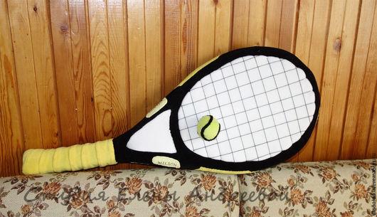 Детская ручной работы. Ярмарка Мастеров - ручная работа. Купить Подушка -теннисная ракетка. Желтая. Handmade. Подушка диванная, поролон