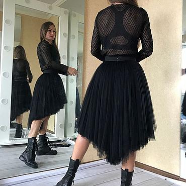 Одежда ручной работы. Ярмарка Мастеров - ручная работа Шелковая юбка - пачка со шлейфом из тюля премиум. Handmade.