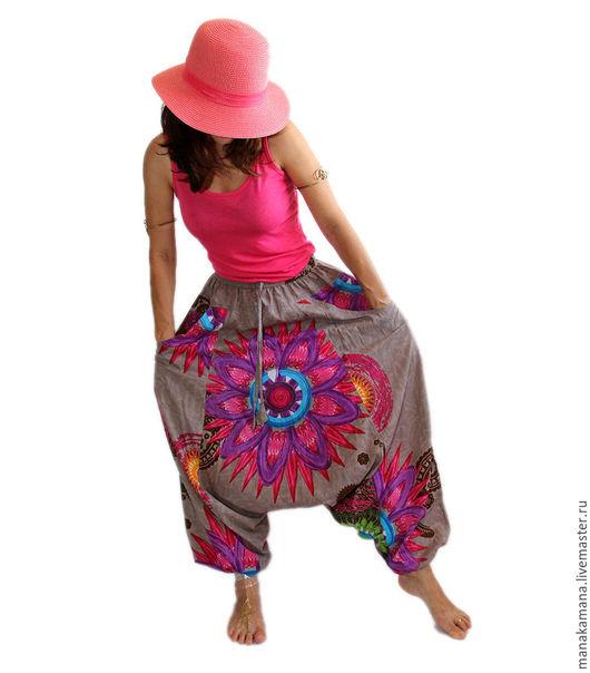 """Этническая одежда ручной работы. Ярмарка Мастеров - ручная работа. Купить Штаны-зуавы из хлопка """"Лето"""" пепельный хаки. Handmade."""