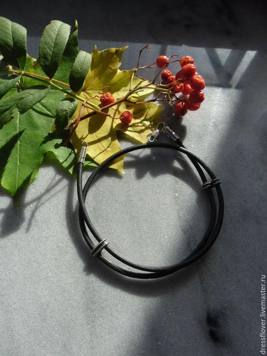 Браслеты ручной работы. Ярмарка Мастеров - ручная работа. Купить браслет Двойной из кожаного шнура. Handmade. Черный