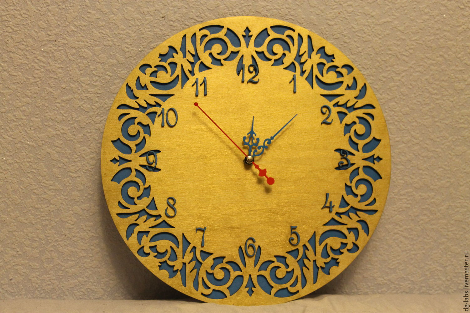 Carved colored wall clock – shop online on Livemaster with shipping ...
