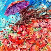 Картины и панно ручной работы. Ярмарка Мастеров - ручная работа Картина маслом на холсте с подрамником. Фея красных маков. Маки. Handmade.