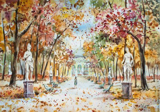 Город ручной работы. Ярмарка Мастеров - ручная работа. Купить Летний сад. Осень. Акварель, печать. Handmade. Оранжевый, скульптура