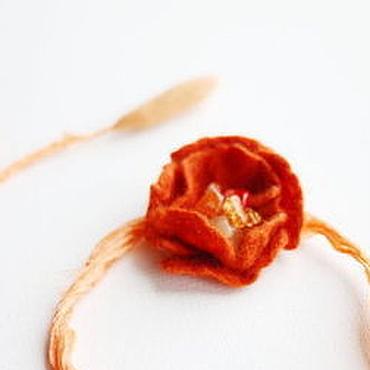 """Украшения ручной работы. Ярмарка Мастеров - ручная работа Украшение на шею - """"Оранжевый мак"""". Handmade."""