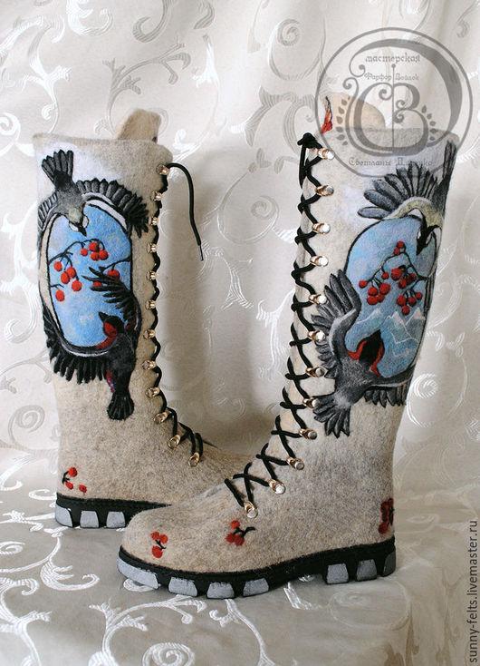 """Обувь ручной работы. Ярмарка Мастеров - ручная работа. Купить """"Воришки"""" - валенки для зимы. Handmade. Серый, валенки с рисунком"""