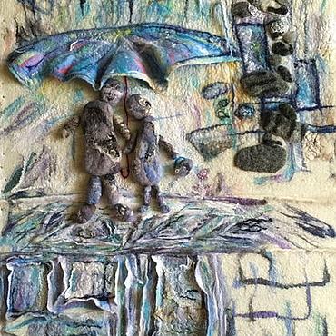Картины и панно ручной работы. Ярмарка Мастеров - ручная работа Панно из шерсти Краски Питера или Двое под дождем. Handmade.