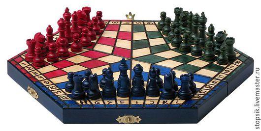 Настольные игры ручной работы. Ярмарка Мастеров - ручная работа. Купить Шахматы на троих Цветные малые 22658. Handmade.
