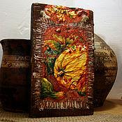 Картины и панно ручной работы. Ярмарка Мастеров - ручная работа «Натюрморт с тыквами» панно большое рельефное на толстой доске. Handmade.