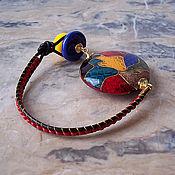 """Украшения ручной работы. Ярмарка Мастеров - ручная работа Браслет """"Игрушки. Multicolored"""", змеиная кожа, лэмпворк, кожаный шнур.. Handmade."""