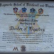 Подарки к праздникам handmade. Livemaster - original item Personalized diploma of graduation Hogwarts. Handmade.