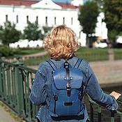 Сумки и аксессуары handmade. Livemaster - original item Backpack leather female blue forget-me-fashion R13-171. Handmade.
