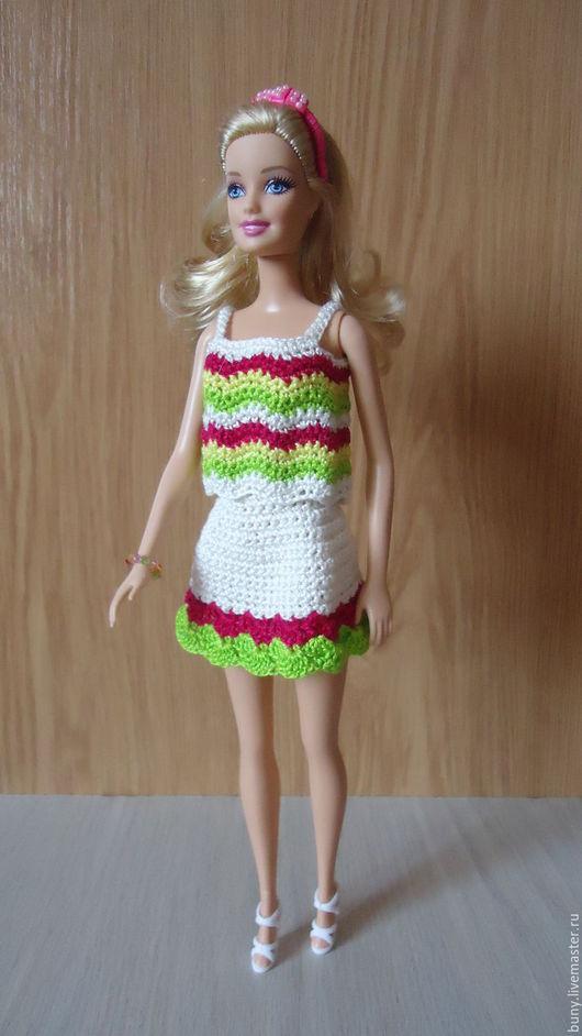 Одежда для кукол ручной работы. Ярмарка Мастеров - ручная работа. Купить Яркий летний комплект. Handmade. Комбинированный, наряды для барби