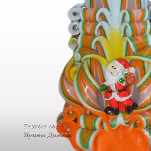 """Свечи ручной работы. Ярмарка Мастеров - ручная работа. Купить Новогодняя резная свеча.""""Дед Мороз"""". Маленькая. Handmade."""