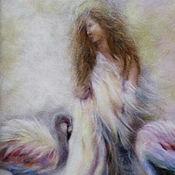 """Картины и панно ручной работы. Ярмарка Мастеров - ручная работа Картина шерстью """"Девушка с фламинго"""". Handmade."""