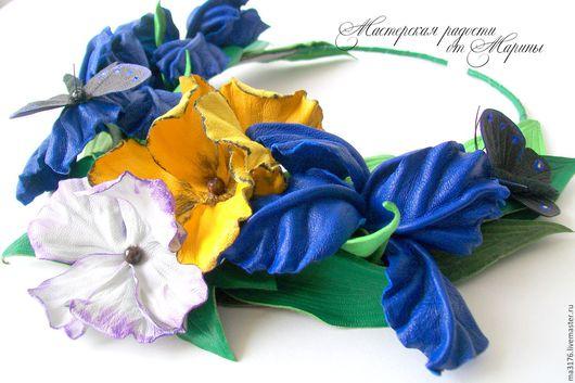 """Колье, бусы ручной работы. Ярмарка Мастеров - ручная работа. Купить Колье""""Ультрамарин""""Украшения из кожи.. Handmade. Синий, виолы, цветы из кожи"""