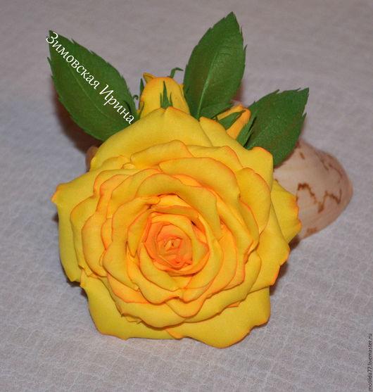 Броши ручной работы. Ярмарка Мастеров - ручная работа. Купить Брошь-заколка Жёлтая роза из фоамирана. Handmade. Желтый