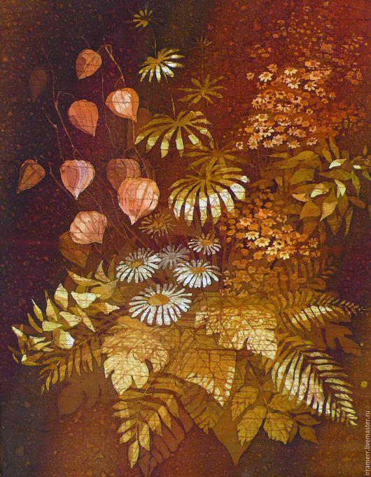 """Картины цветов ручной работы. Ярмарка Мастеров - ручная работа. Купить Батик в раме """"Фонарики"""". Handmade. Коричневый, горячий батик"""