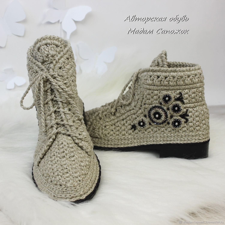 56ca5a1c8c4f Заказать Льняные ботинки с вышивкой женские. Ксения Мадам Сапожок. Ярмарка  ...