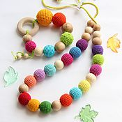 Одежда handmade. Livemaster - original item Slingobusy and teething toy - colors of summer. Handmade.
