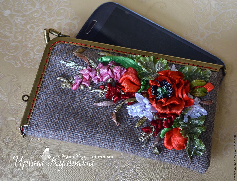 Чехол для телефона с вышивкой лентами 24