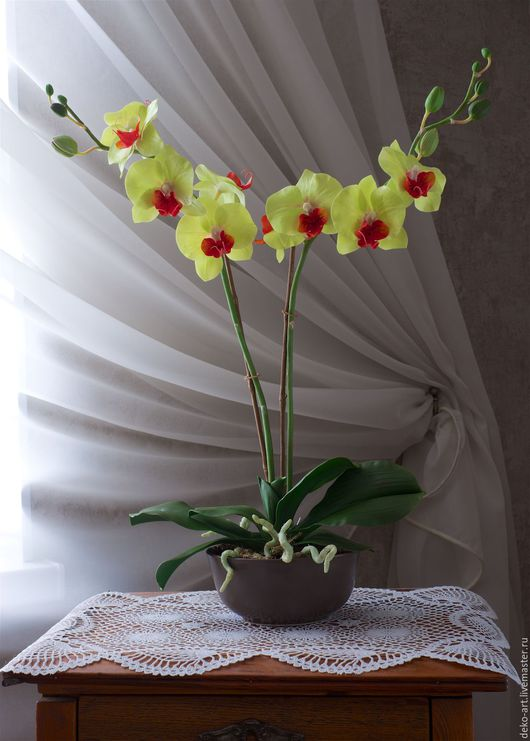Искусственные растения ручной работы. Ярмарка Мастеров - ручная работа. Купить Орхидея ФАЛЕНОПСИС. Handmade. Салатовый, орхидея