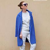 Одежда ручной работы. Ярмарка Мастеров - ручная работа Пальто вязаное светлый васильковый. Handmade.