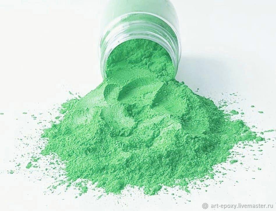 Pearl pigment. Color bright green. the amount of 10 grams, Glitters, Volgograd,  Фото №1