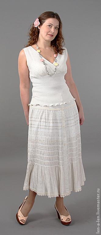 Юбки ручной работы. Ярмарка Мастеров - ручная работа. Купить Длинная юбка с оборкой. Handmade. Лен, оборка, одежда для женщин