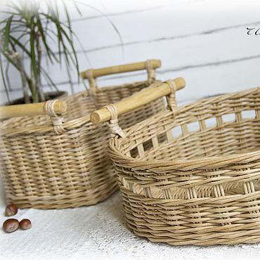 Для дома и интерьера ручной работы. Ярмарка Мастеров - ручная работа Набор плетеных корзин для кухни Beige classic. Handmade.