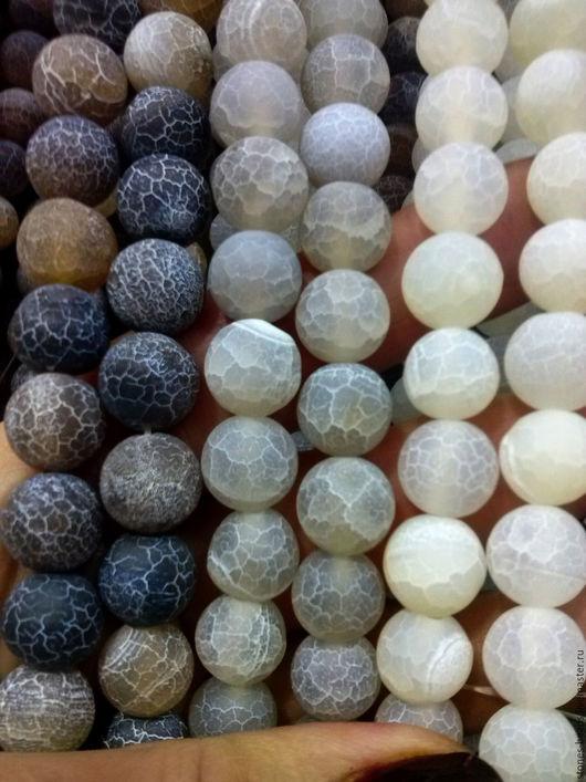 Агат `Кракле` матированные шар 10 мм. Цвета - коричневый, светло-серый, белый