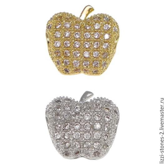 Бусина яблочко золото и серебро (Milano) Евгения (Lizzi-stones-2)