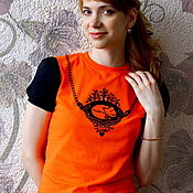 Одежда handmade. Livemaster - original item Fox t-shirt, women`s fitted t-shirt with flashlight sleeve. Handmade.