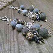 Украшения handmade. Livemaster - original item Earrings Long Cascade Waterfall Beads Beads Gray Blue Boho. Handmade.