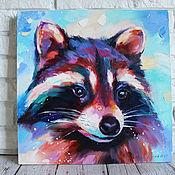 Картины и панно handmade. Livemaster - original item Oil painting on canvas with a raccoon 40/40 cm.. Handmade.