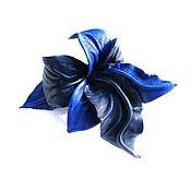 """Украшения ручной работы. Ярмарка Мастеров - ручная работа Брошь цветок из кожи Орхидея """" Лазурь""""  васильковый темно-синий. Handmade."""