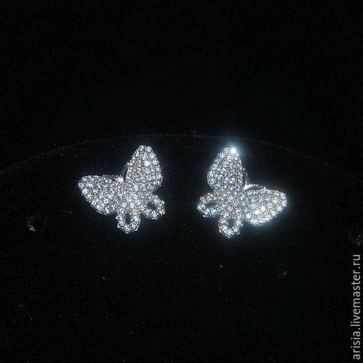 Винтажные украшения. Ярмарка Мастеров - ручная работа. Купить Серьги Van Cleef ажурные бабочки серебро 925, кристаллы. Handmade.
