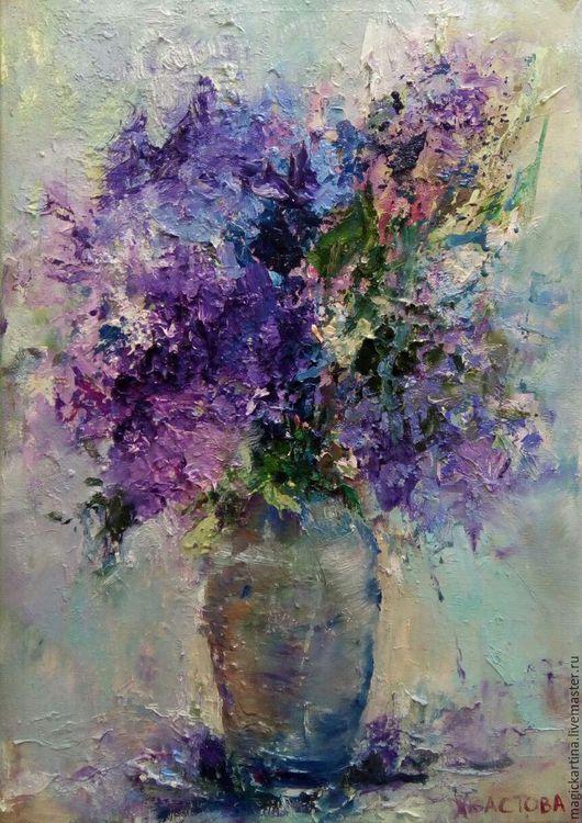 `Сиреневый вечер` - картина маслом, цветы