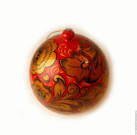 Новый год 2017 ручной работы. Ярмарка Мастеров - ручная работа. Купить Новогодний шар с хохломской росписью  (открывающийся). Handmade.